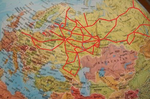 globaal kaartje spoorverbindingen Rusland